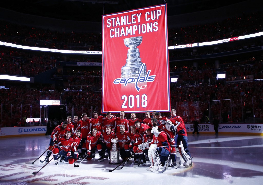 Washington Capitals raise Stanley Cup banner on opening night. Geoff Burke / USA Today Sports Images