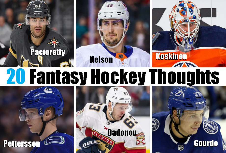 Clockwise from top left: Max Pacioretty, Brock Nelson, Mikko Koskinen, Yanni Gourde, Evgneii Dadonov, Elias Pettersson. USA Today Sports Images