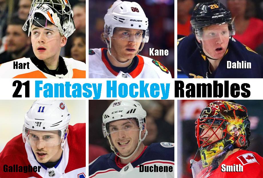 Clockwise from top left: Carter Hart, Patrick Kane, Rasmus Dahlin, Mike Smith, Matt Duchene, Brendan Gallagher. USA Today Sports Images