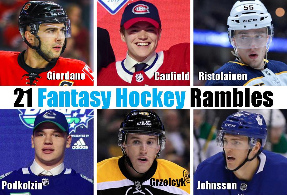 Clockwise from top left: Mark Giordano, Cole Caufield, Rasmus Ristolainen, Andreas, Johnsson, Matt Grzelcyk, Vasili Podkolzin. USA Today Sports Images