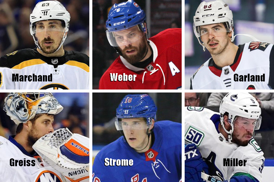 Clockwise from top left: Brad Marchand, Shea Weber, Conor Garland, J.T. Miller, Ryan Strome, Thomas Greiss. USA Today Sports Images