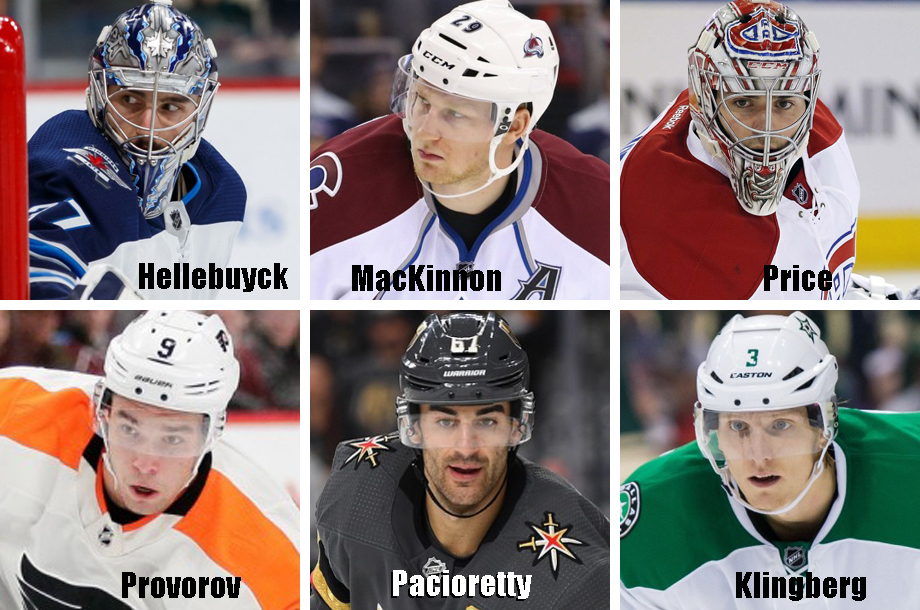 Clockwise from top left: Connor Hellebuyck, Nathan MacKinnon, Carey Price, John Klingberg, Max Pacioretty, Ivan Provorov. USA Today Sports Images