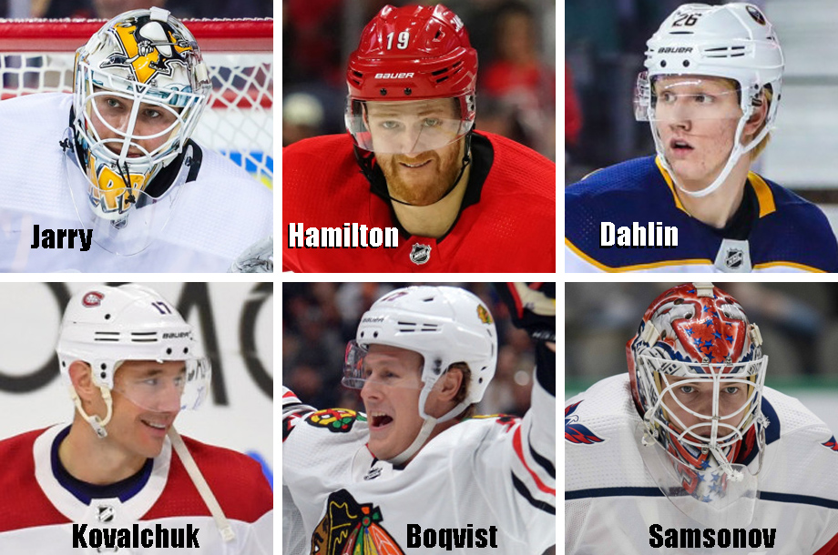 Clockwise from top left: Tristan Jarry, Dougie Hamilton, Rasmus Dahlin, Ilya Samsonov, Adam Boqvist, Ilya Kovalchuk. USA Today Sports Images