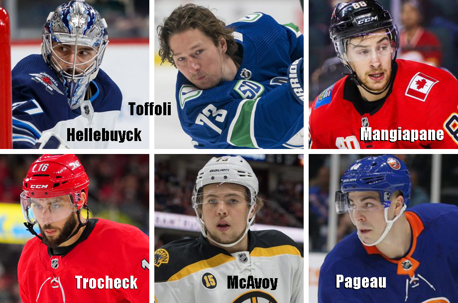 Clockwise from top left: Connor Hellebuyck, Tyler Toffoli, Andrew Mangiapane, Jean-Gabriel Pageau, Charlie McAvoy, Vincent Trocheck. USA Today Sports Images