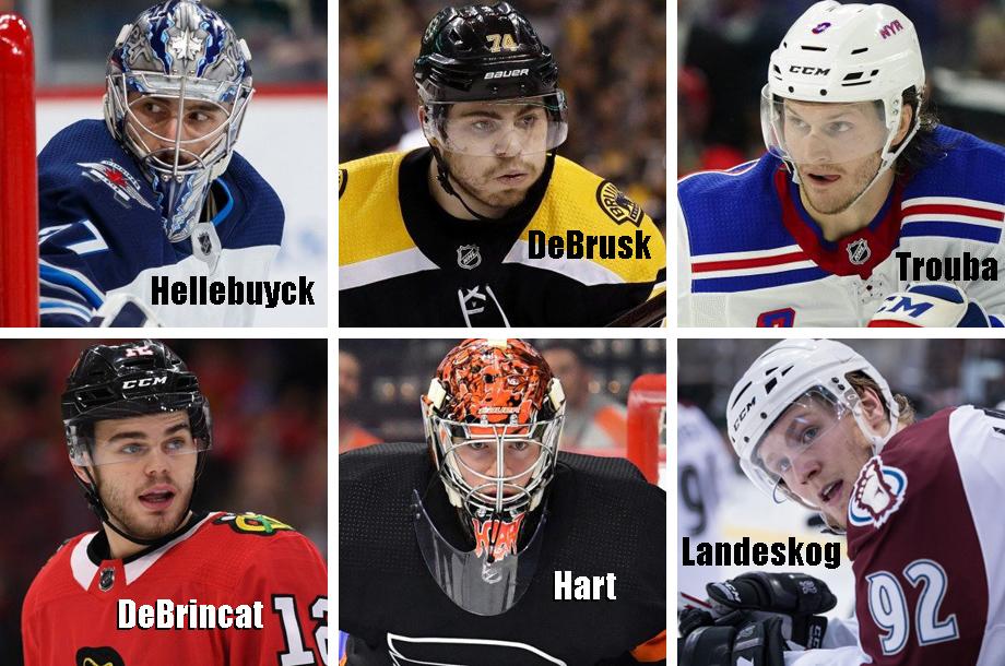 Clockwise from top left: Connor Hellebuyc, Jake DeBrusk, Jacob Trouba, Gabriel Landeskog, Carter Hart, Alex DeBrincat. USA Today Sports Images