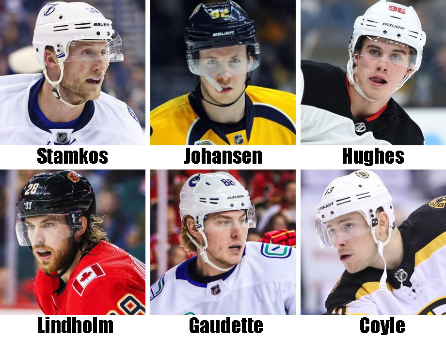 Clockwise from top left: Steven Stamkos, Ryan Johansen, Jack Hughes, Charlie Coyle, Adam Gaudette, Elias Lindholm. USA Today Sports Images