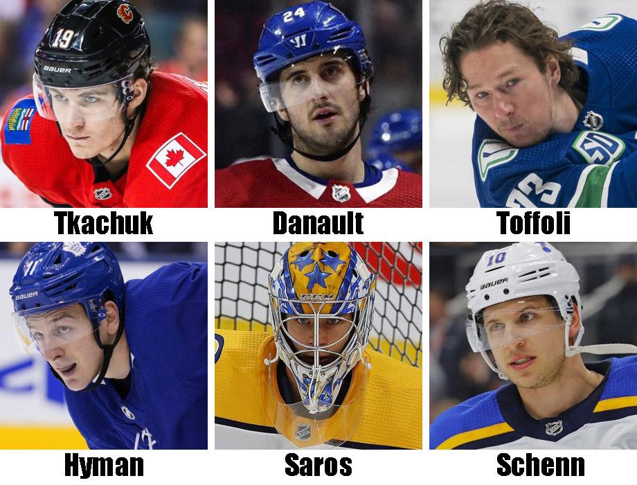 Clockwise from top left: Matthew Tkachuk, Phillip Danault, Tyler Toffoli, Brayden Schenn, Juuse Saros, Zach Hyman. USA Today Sports Images