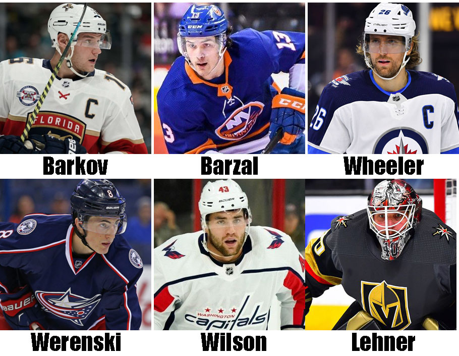 Clockwise from top left: Aleksander Barkov, Mathew Barzal, Blake Wheeler, Robin Lehner, Tom Wilson, Zach Werenski. USA Today Sports Images