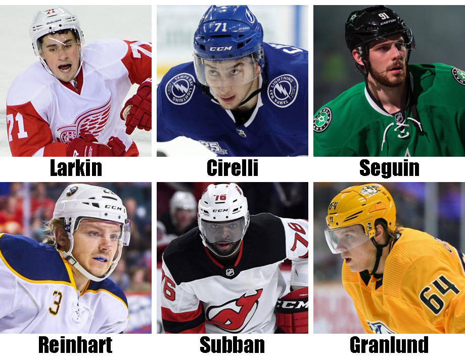 Clockwise from top left: Dylan Larkin, Anthony Cirelli, Tyler Seguin, Mikael Granlund, P.K. Subban, Sam Reinhart. USA Today Sports Images