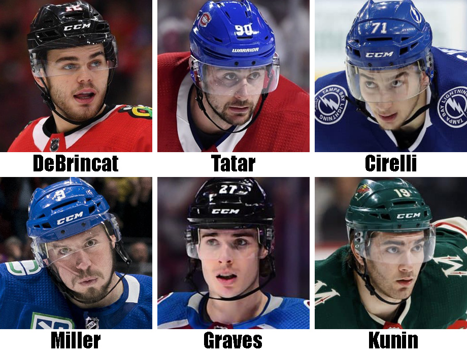 Clockwise from top left: Alex DeBrincat, Tomas Tatar, Anthony Cirelli, Luke Kunin, Ryan Graves, J.T. Miller. USA Today Sports Images