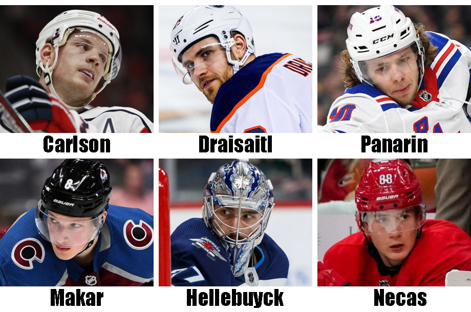 Clockwise from top left: John Carlson, Leon Draisaitl, Artemi Panarin, Martin Necas, Connor Hellebuyck, Cale Makar. USA Today Sports Images