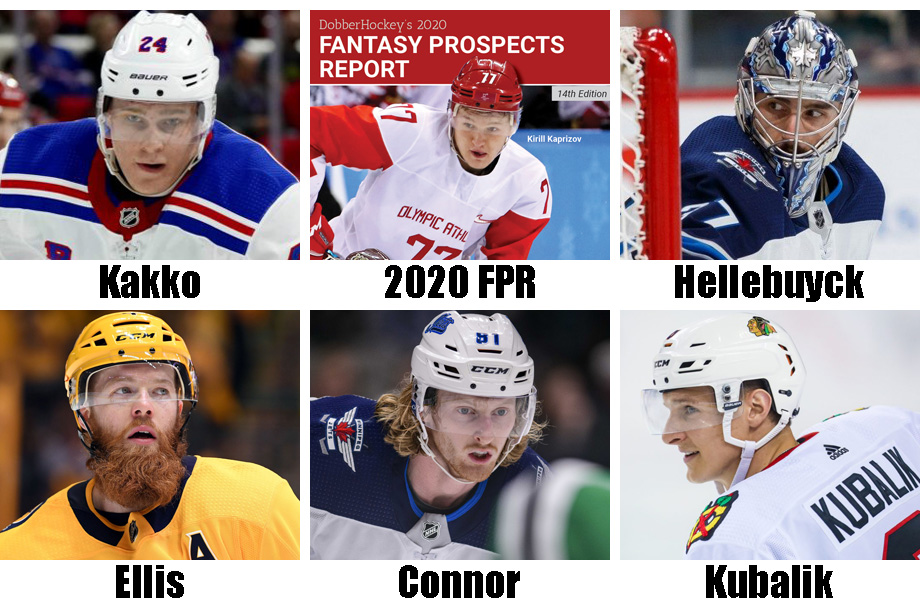 Clockwise from left: Kaapo Kakko, our annual Fantasy Prospects Report (now available), Connor Hellebuyck, Domink Kubalik, Kyle Connor, Ryan Ellis. USA Today Sports Images