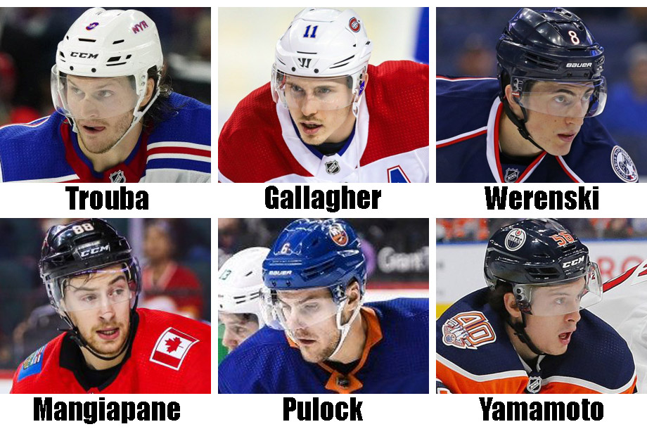 Clockwise from top left: Jacob Trouba, Brendan Gallagher, Zack Werenski, Kailer Yamamoto, Ryan Pulock, Andrew Mangiapane. USA Today Sports Images