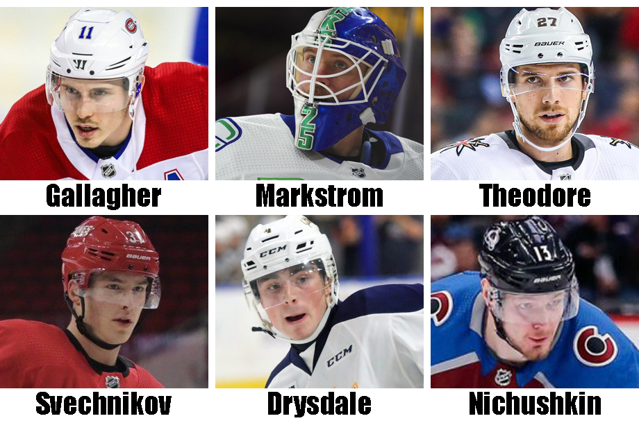 Clockwise from top left: Brendan Gallagher, Jacob Markstrom, Shea Theodore, Valeri Nichushkin, Jamie Drysdale, Andrei Svechnikov. USA Today Sports Images; OHL Images (Drysdale)
