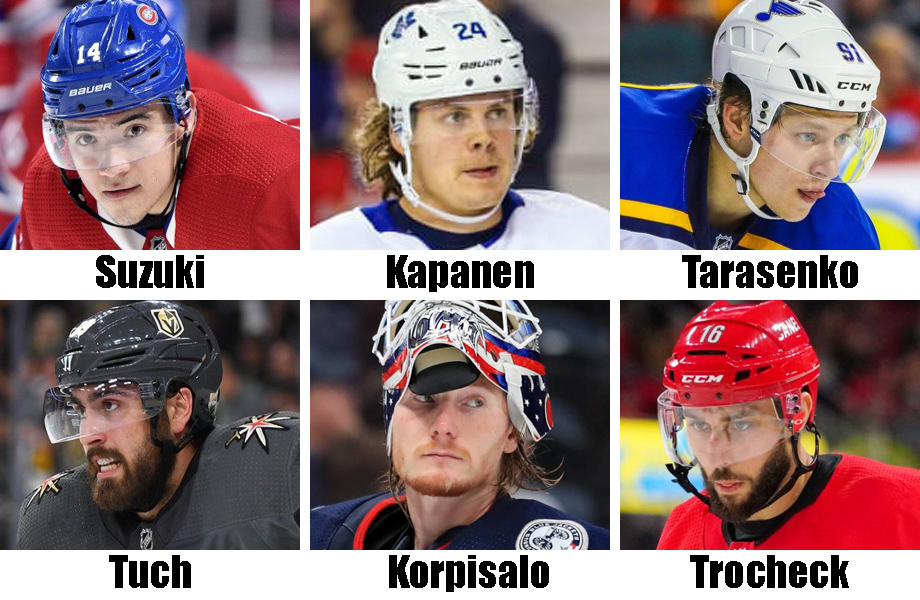 Clockwise from top left: Nick Suzuki, Kasperi Kapanen, Vlad Tarasenko, Vincent Trocheck, Joonas Korpisalo, Alex Tuch. USA Today Sports Images