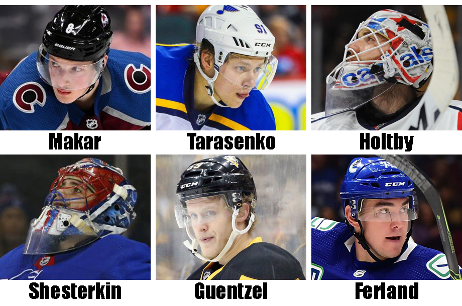 Clockwise from top left: Cale Makar, Vlad Tarasenko, Braden Holtby, Micheal Ferland, Jake Guentzel, Igor Shesterkin, USA Today Sports Images