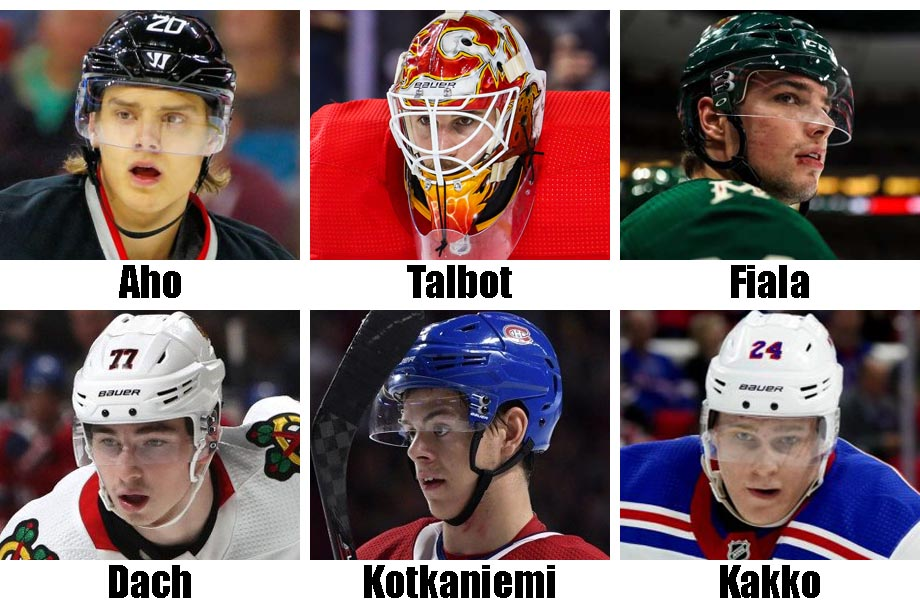 Clockwise from top left: Sebastian Aho, Cam Talbot, Kevin Fiala, Kaapo Kakko, Jesperi Kotkaniemi, Kirby Dach. USA Today Sports Images