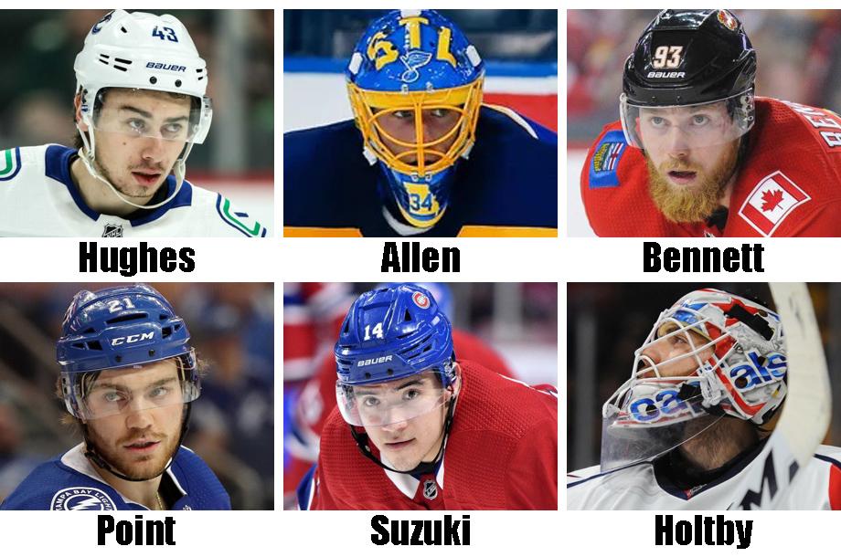 Clockwise from top left: Quinn Hughes, Jake Allen, Sam Bennett, Braden Holtby, Nick Suzuki, Brayden Point. USA Today Sports Images