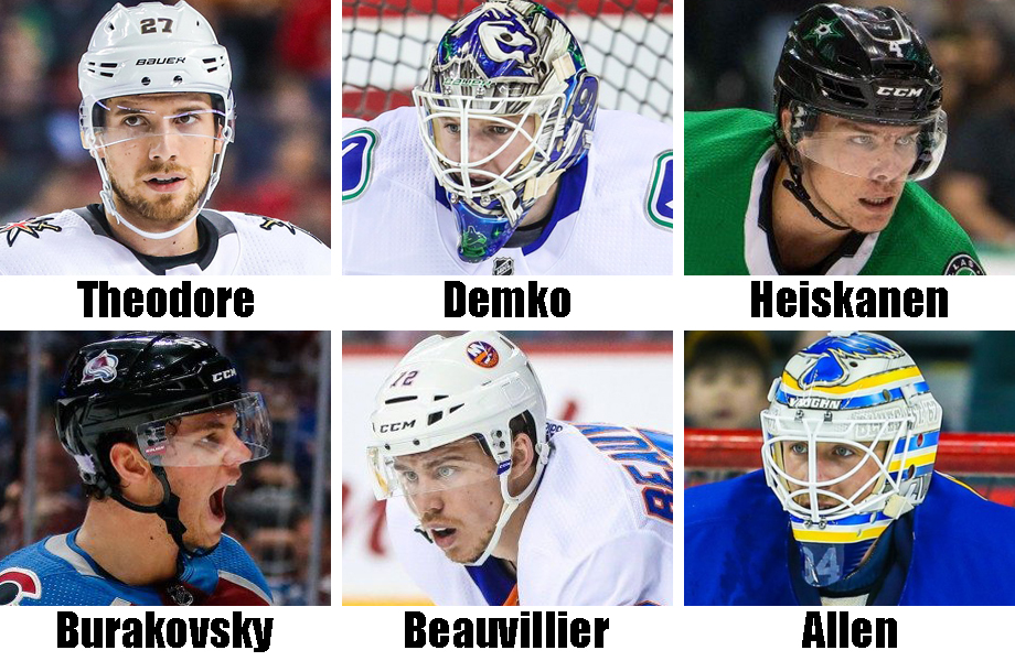 Clockwise from top left: Shea Theodore, Thatcher Demko, Miro Heiskanen, Jake Allen, Anthony Beauvillier, Andre Burakovsky. USA Today Sports Images