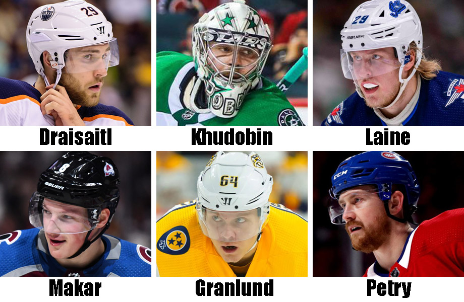 Clockwise from top left: Leon Draisaitl, Anton Khudobin, Patrik Laine, Jeff Petry, Mikael Granlund, Cale Makar. USA Today Sports Images