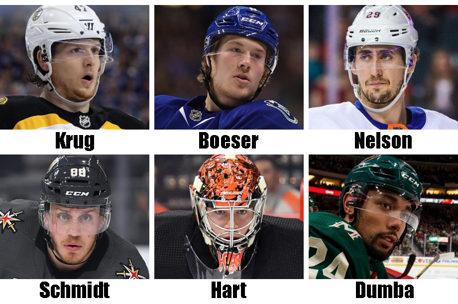 Clockwise from top left: Torey Krug, Brock Boeser, Brock Nelson, Matt Dumba, Carter Hart, Norm Schmidt. USA Today Sports Images