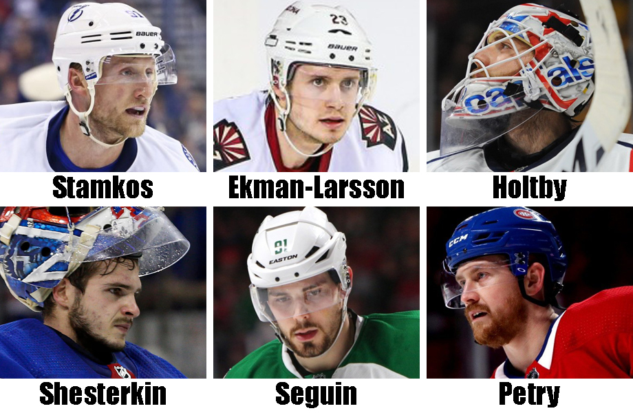 Clockwise from top left: Steven Stamkos, Oliver Ekman-Larsson, Braden Holtby, Jeff Petry, Tyler Seguin, Igor Shesterkin. USA Today Sports Imgaes
