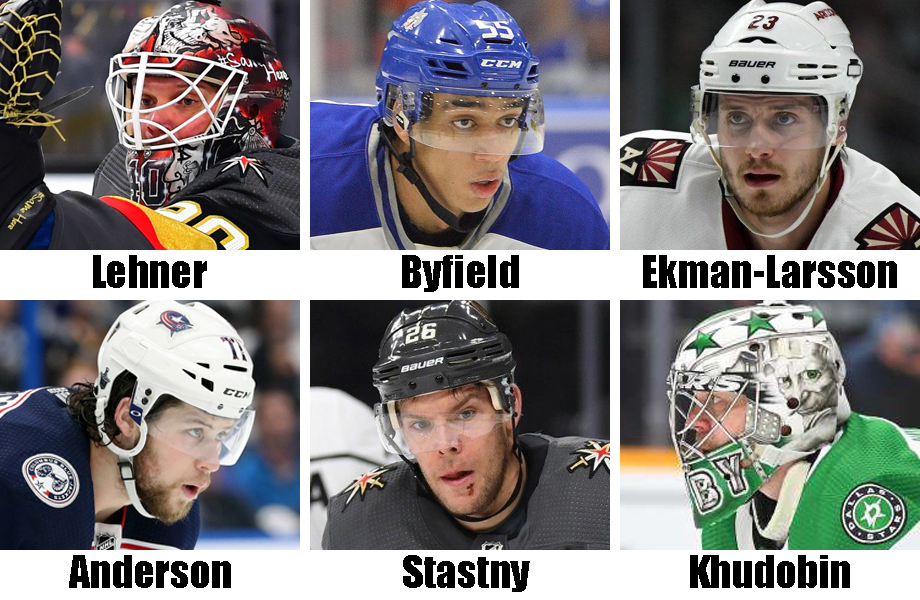 Clockwise from top left: Robin Lehner, Quinton Byfield, Oliver Ekman-Larsson, Anton Khudobin, Paul Stastny, Josh Anderson. UA Today Sports Images; OHL Images (Byfield)