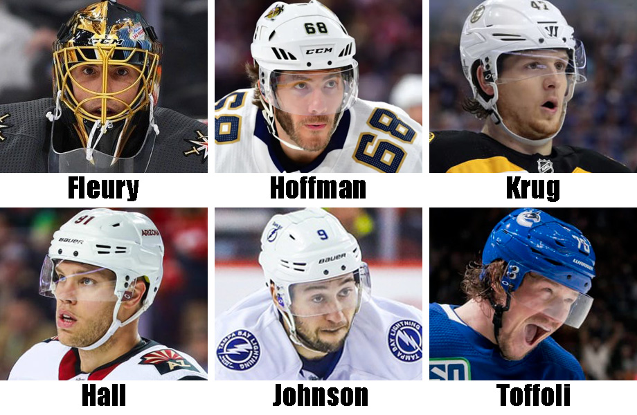 Clockwise from top left: Marc-Andre Fleury, Mike Hoffman, Torey Krug, Tyler Toffoli, Tyler Johnson, Taylor Hall. USA Today Sports Images